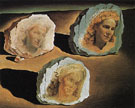 Three Faces of Gala appearing among the Rocks 1945 - Salvador Dali