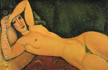 Reclining Nude with Left Arm Resting on Forehead 1917 - Amedeo Modigliani reproduction oil painting