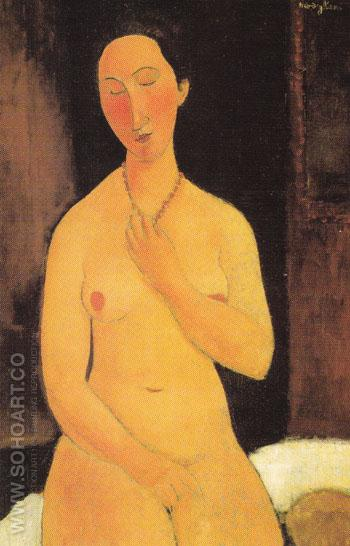 Seated Nude with Necklace 1917 - Amedeo Modigliani reproduction oil painting