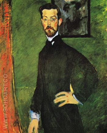 Portrait of Paul Alexandre Against a Green Background 1909 - Amedeo Modigliani reproduction oil painting