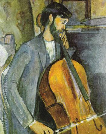 The Cellist 1909 - Amedeo Modigliani reproduction oil painting