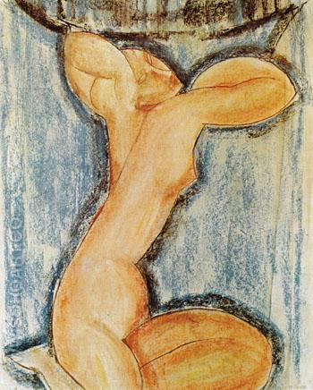 Caryatid 1913 - Amedeo Modigliani reproduction oil painting