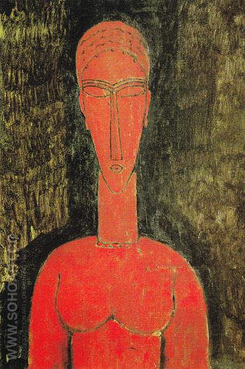 The Red Bust 1913 - Amedeo Modigliani reproduction oil painting