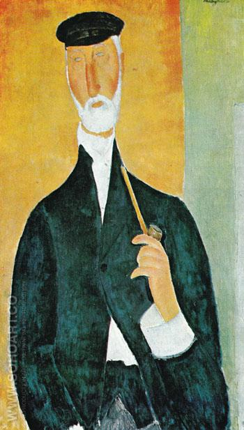 Man with Pipe The Notary of Nice 1918 - Amedeo Modigliani reproduction oil painting
