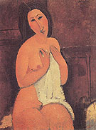 Amedeo Modigliani Reproduction oil painting of Seated Nude with a Shirt in Her Hands 1917