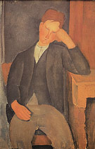 Amedeo Modigliani Reproduction oil painting of Young Peasant Leaning Against a Table 1918