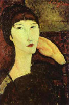 Amedeo Modigliani Reproduction oil painting of Adrienne Woman with Bangs 1917
