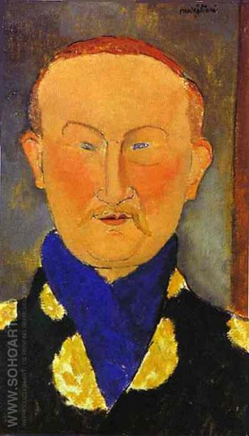 Portrait of Leon Bakst 1917 - Amedeo Modigliani reproduction oil painting
