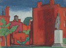 Oscar Bluemner Red Building with Statue c1920