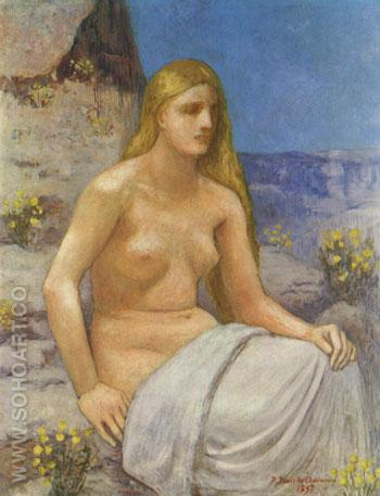 Die Bubende Magdalena 1897 - Pierre Puvis de Chavannes reproduction oil painting