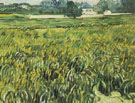 Wheat Field at Auvers with House - Vincent van Gogh reproduction oil painting
