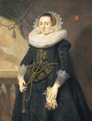 Pieter Claesz Portrait of a Lady Holding Gloves