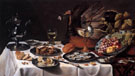 Pieter Claesz Still Life with Turkey Pie 1627