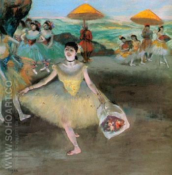 Dancer with a Bouquet Bowing c 1877 - Edgar Degas reproduction oil painting