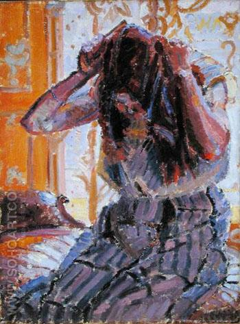 Girl Combing Hair - Harold Gilman reproduction oil painting