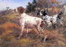 Edmund Henry Osthaus A German Short Haired Pointer and Two English Setters in a Landscape