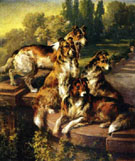 Edmund Henry Osthaus Collie Dogs in Formal Garden