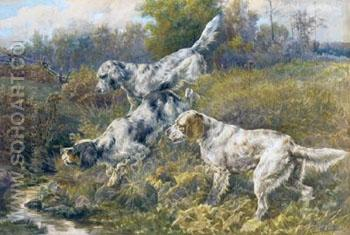 English Setters at a Stream - Edmund Henry Osthaus reproduction oil painting