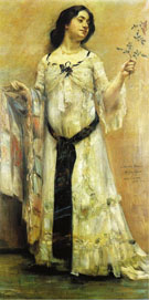 Lovis Corinth Portrait of Charlotte Berend in A White Dress 1902