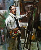 Lovis Corinth Self Portrait in the Studio