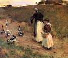 Old Woman with Child and Goose 1885 - Willard Leroy Metcalfe