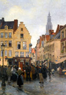Edgard Farasyn A Busy Market in Antwerp c1885