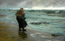 Fishermans Wife on the Beach with Child in Her Arms - Edgard Farasyn