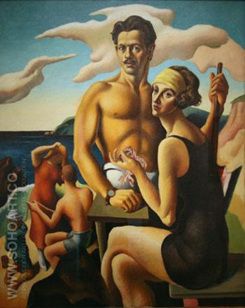 Self Portrait with Rita 1922 - Thomas Hart Benton reproduction oil painting