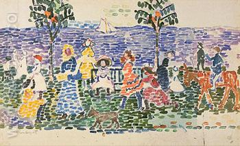 Decorative Composition Study for Promenade c1913 - Maurice Prendergast reproduction oil painting