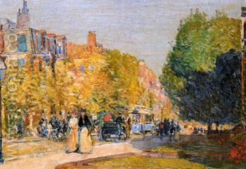 Marlborough Street Boston - Childe Hassam reproduction oil painting