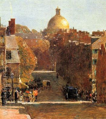 Mount Vernon Street Boston 1890 - Childe Hassam reproduction oil painting