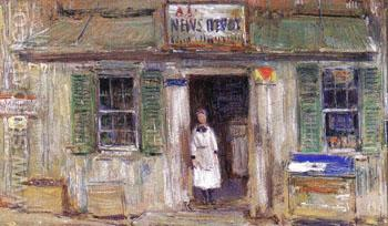 News Depot at Cos Cob - Childe Hassam reproduction oil painting