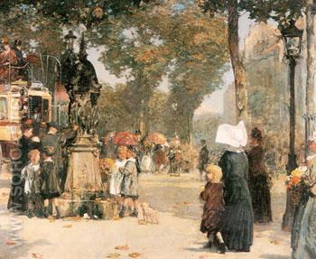 Paris Street Scene 1887 - Childe Hassam reproduction oil painting