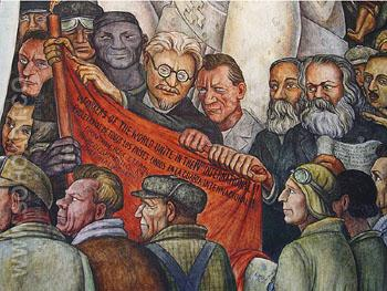 Mural Detail Leon Trotsky Karl Marx Nelson Rockerfeller Intrique and Assassination - Diego Rivera reproduction oil painting