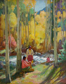 Indians in Aspen Forest - Joseph Henry Sharp