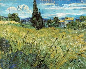 Green Wheatfield with Cypress 1889 - Vincent van Gogh reproduction oil painting