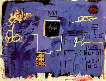 Untitled  Blue Skyline - Jean-Michel-Basquiat reproduction oil painting