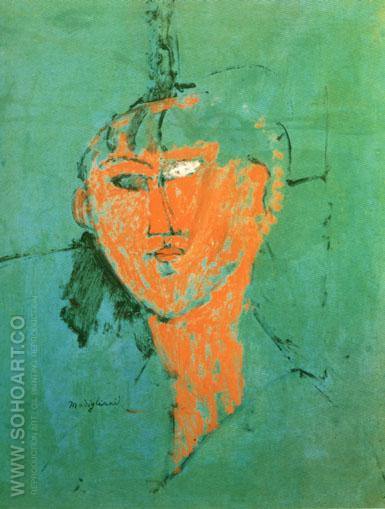 Head of Young Woman 1915 - Amedeo Modigliani reproduction oil painting