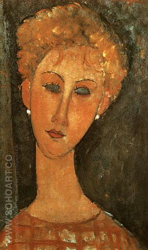 Woman with Earrings 1917 - Amedeo Modigliani reproduction oil painting