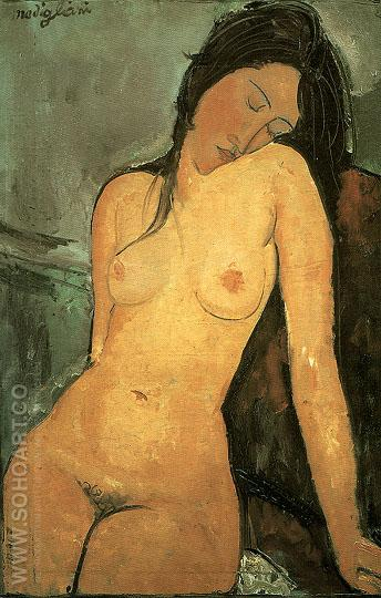 Seated Nude 1916 - Amedeo Modigliani reproduction oil painting