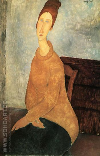 Yellow Sweater 1919 - Amedeo Modigliani reproduction oil painting