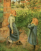 Woman and Child at Well 1882 - Camille Pissarro reproduction oil painting