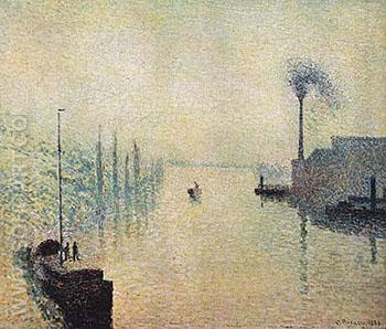 River Early Morning 1888 - Camille Pissarro reproduction oil painting