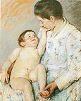 Baby's First Caress - Mary Cassatt reproduction oil painting
