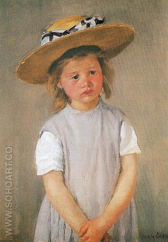 Child in Straw Hat - Mary Cassatt reproduction oil painting