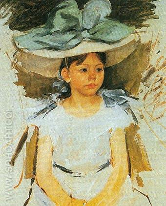 Ellen Mary Cassatt in a Big Blue Hat - Mary Cassatt reproduction oil painting