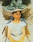 Ellen Mary Cassatt in a Big Blue Hat - Mary Cassatt