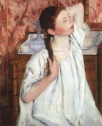 Girl Arranging Her Hair - Mary Cassatt reproduction oil painting