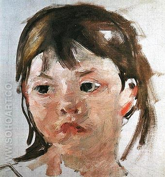 Head of a Little Girl - Mary Cassatt reproduction oil painting
