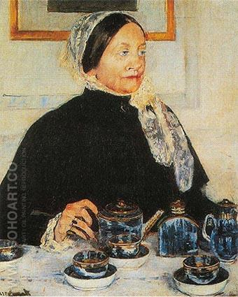 Lady at the Tea Table 1885 - Mary Cassatt reproduction oil painting